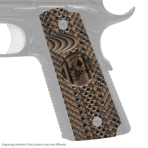 VZ Grip's VZ Recon compact G-10 1911 grip with Death Card skull engraving