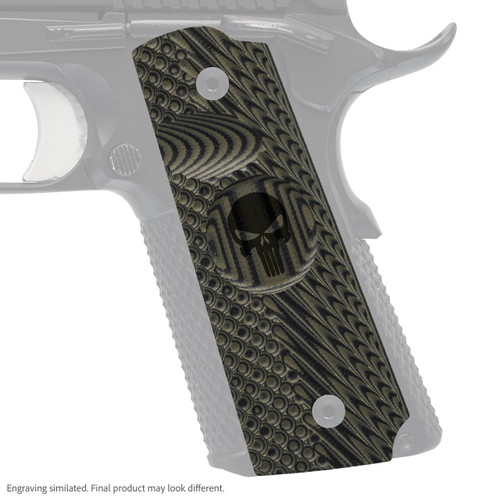 VZ Grips' VZ Operator II™ compact G-10 1911 grip with Punisher skull engraving