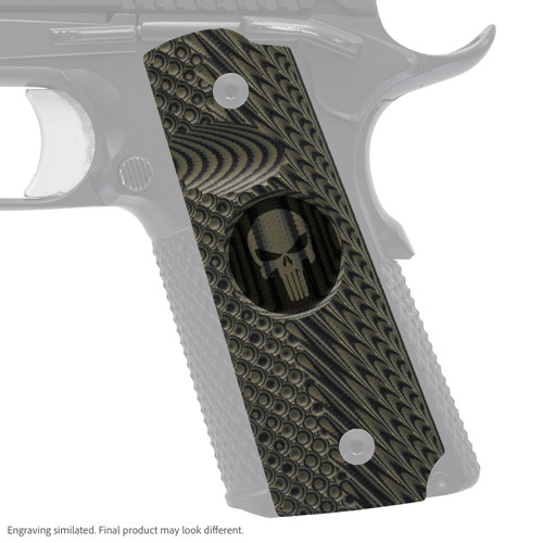 VZ Grips' VZ Operator II™ compact G-10 1911 grip with Punisher II (inverted) skull engraving