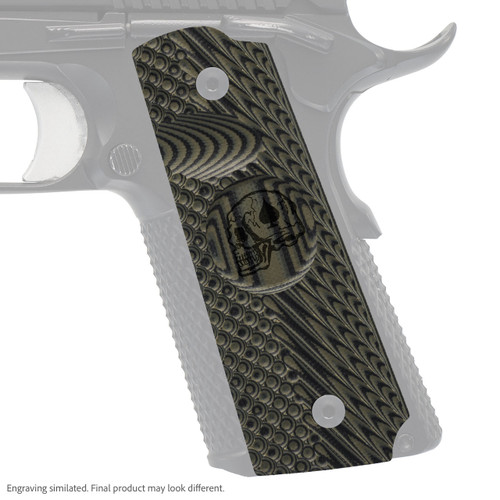 VZ Grip's VZ Operator II™ compact G-10 1911 grip with Death Card skull engraving