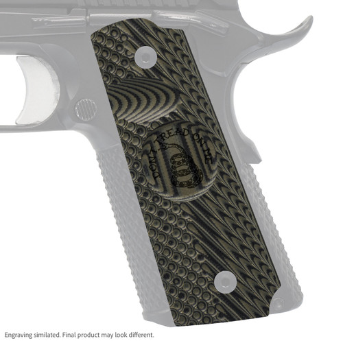 VZ Grip's VZ Operator II™ compact G-10 1911 grip with Gadsden (Don't Tread On Me) engraving