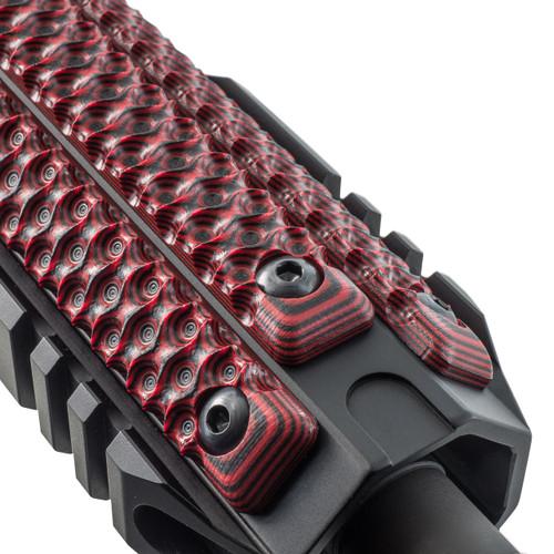 Three VZ Hydra 3-Slot M-LOK Rail Panels in Black Red G-10