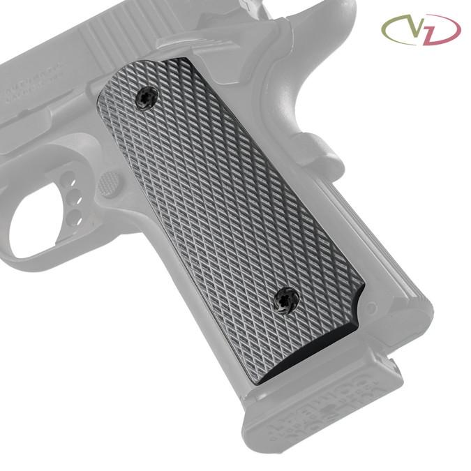VZ Grips' Tactical Slants Steel Gray G-10 grips on a black Colt® 1911.