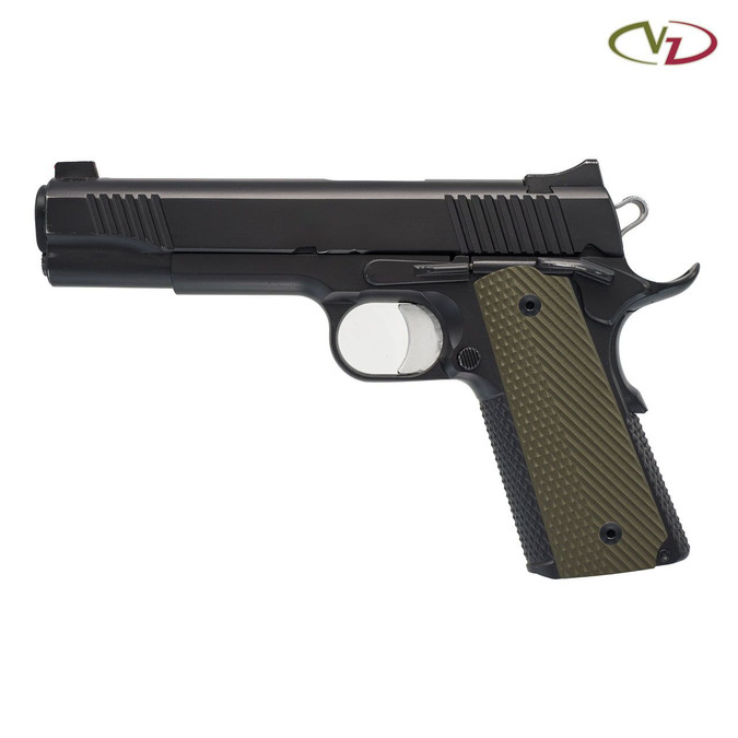 VZ Operator Army Green G-10 grips on a black 1911