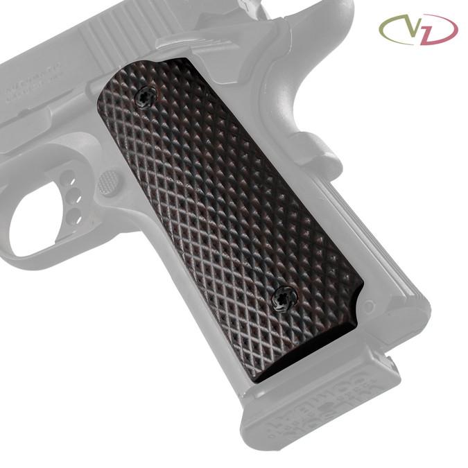 VZ's Diamond Back Black Cherry G-10 grips on a black Colt® 1911.