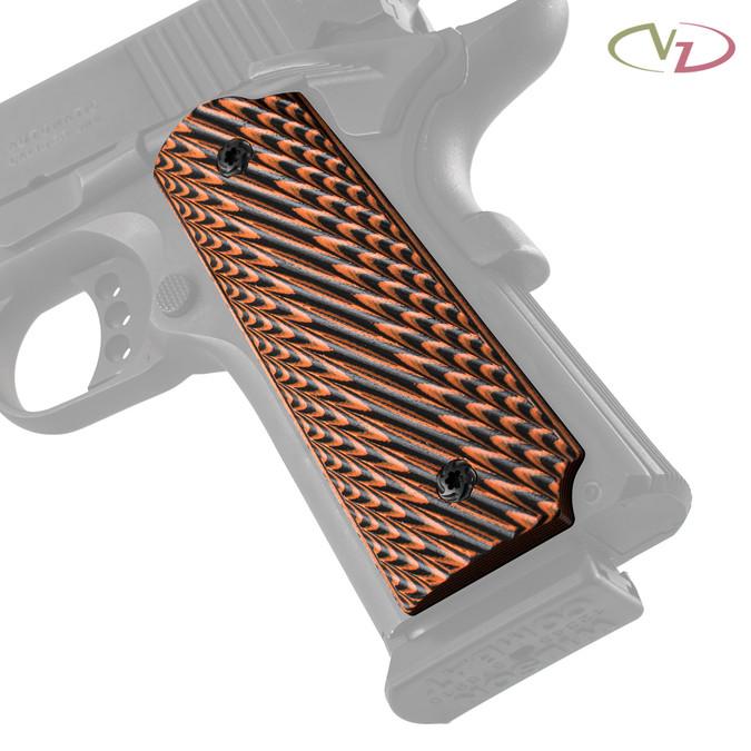 VZ Slant Tiger Stripe G-10 grips on a black Colt® 1911.