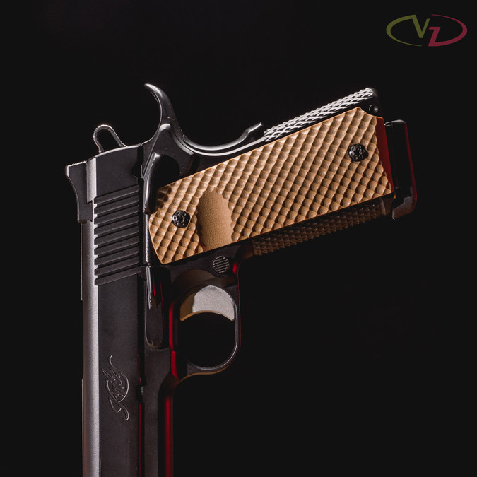 VZ Recon Military Brown G-10 grips on a black Kimber® 1911