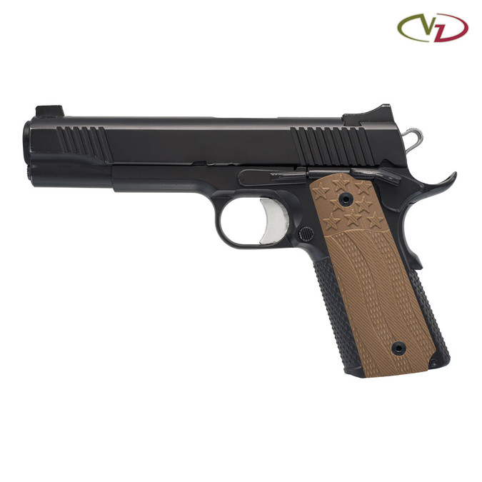 VZ's Stars and Stripes Military Brown G-10 grips on a black 1911