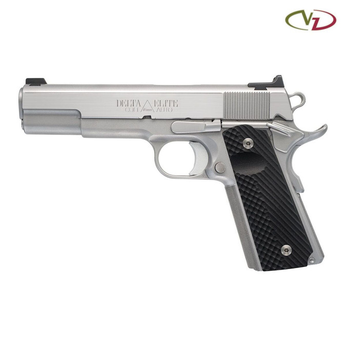 VZ Operator II™ Palm Swell Black G-10 grips on a stainless Colt® Delta Elite 1911