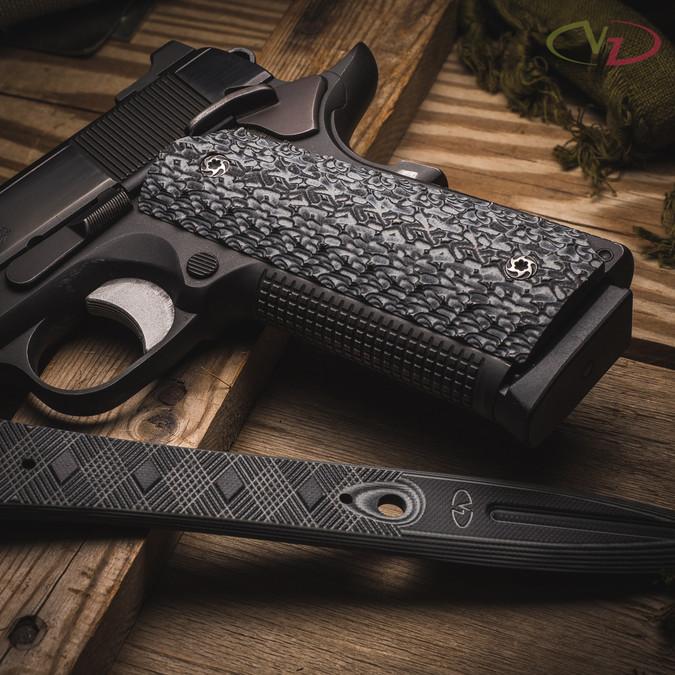 VZ Stipple Black Gray G-10 grips on a black Colt® 1911