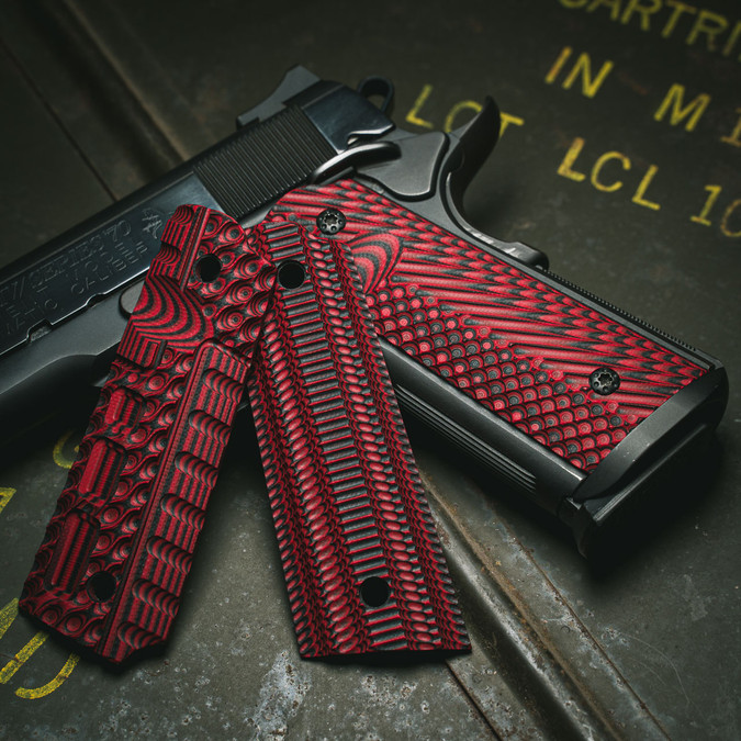 VZ Fallout, Alien®, and VZ Operator II™ Black Red G-10 Grips on a black Colt® 1911
