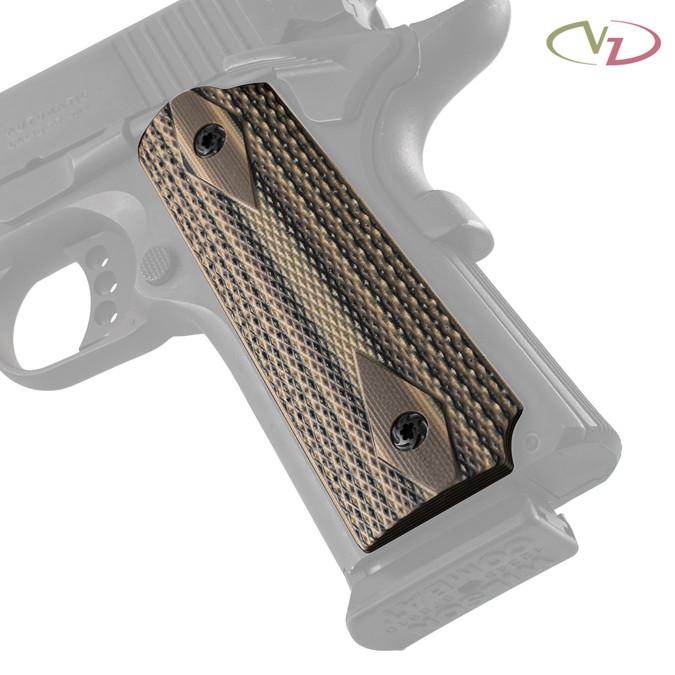 VZ's Double Diamond Hyena Brown G-10 grips on a black Colt® 1911.