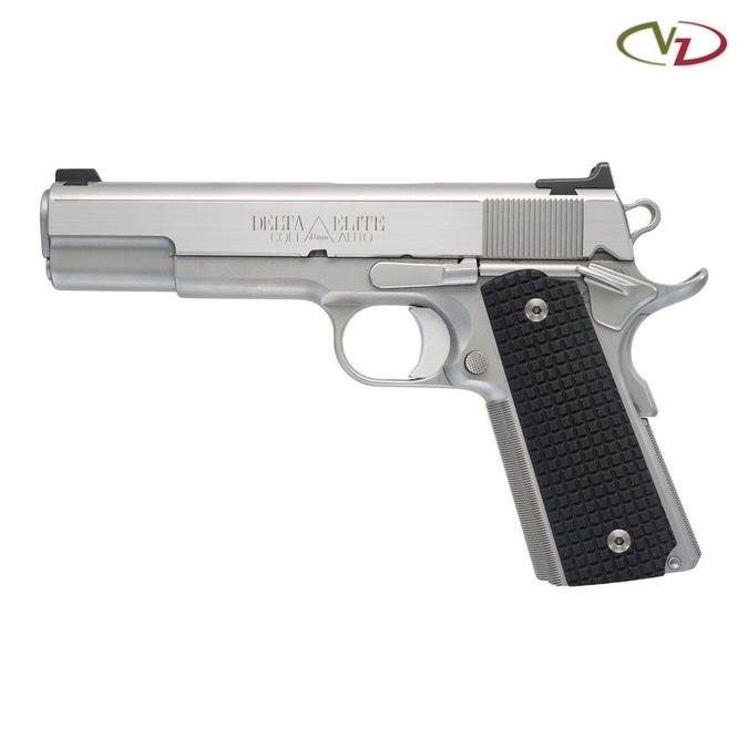 VZ FRAG Black G-10 grips on a stainless Colt® Delta Elite 1911.