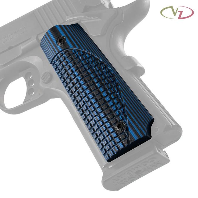 VZ's ETC/FRAG Blue Black G-10 grips on a black Colt® 1911.