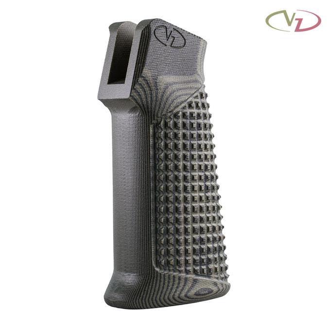 VZ Grips' VZ FRAG AR-15 grip in Dirty Olive G-10 mounted on a black AR