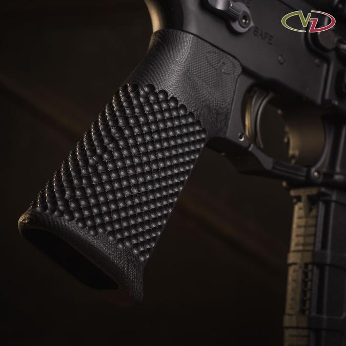 VZ Grips' VZ Recon AR-15 grip in Black G-10 mounted on a black AR.