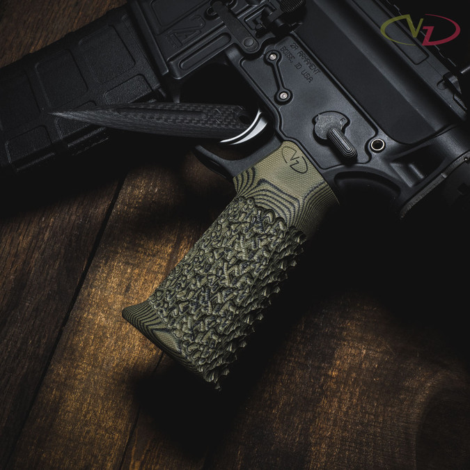 VZ Stipple Dirty Olive G-10 AR-15 grip on a 2A rifle.