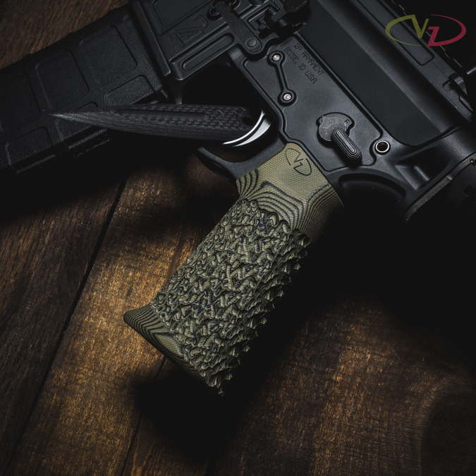 VZ Grips' VZ Stipple AR-15 grip in Dirty Olive G-10 mounted on a 2A AR style rifle