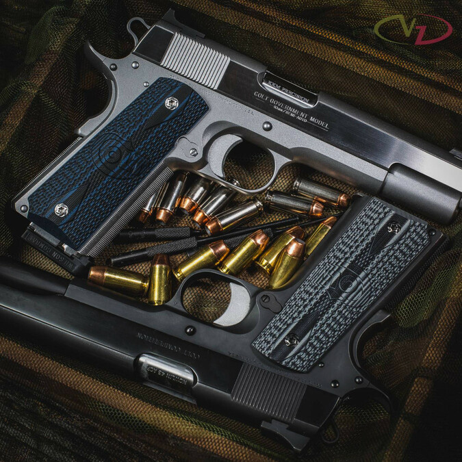 Colt® Logo Series Black Gray and Blue Black G-10 grips on two 1911's.