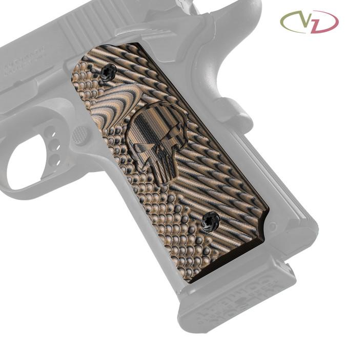 VZ's Castle Hyena Brown G-10 grips on a black Colt® 1911.