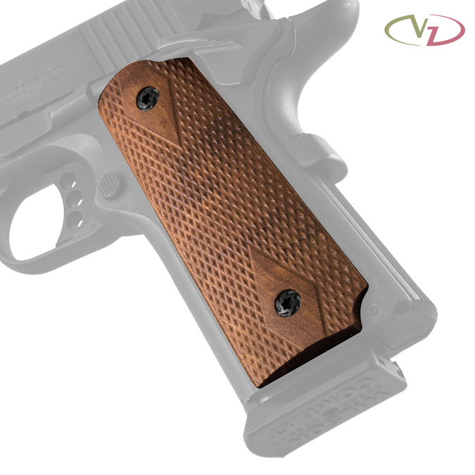 VZ's Double Diamond Cherry Wood  grips on a black Colt® 1911.