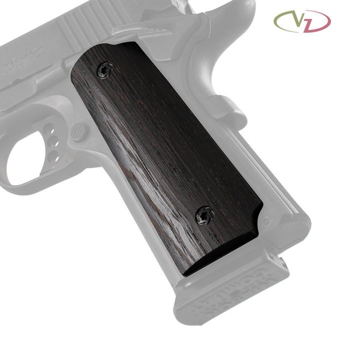 VZ's Smooth Wood Wenge grips on a black Colt® 1911.