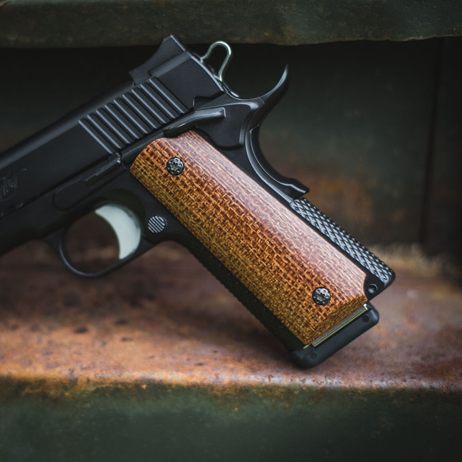 Hand Polished Burlap Grips on a black 1911
