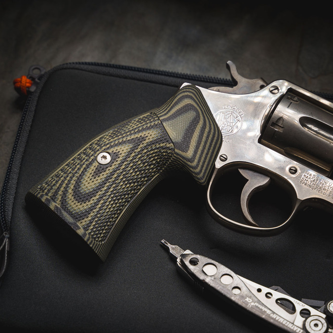 VZ Grips' Tactical Diamond Dirty Olive G-10 Grips on a stainless Smith & Wesson K/L-Frame Square Bottom Revolver, side profile.