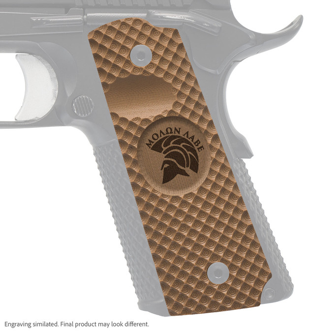 VZ Grip's VZ Recon full-size G-10 1911 grip with Molon Labe engraving