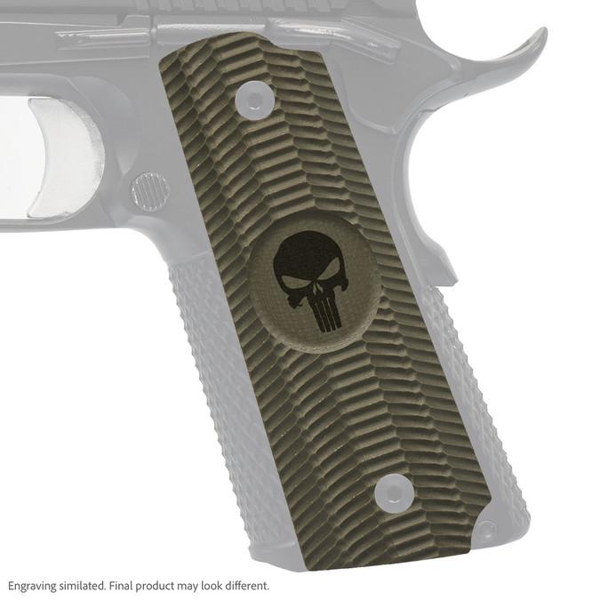 VZ Grips' Alien® full-size G-10 1911 grip with Punisher skull engraving