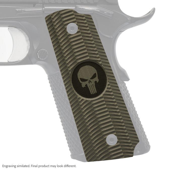 VZ Grips' Alien® full-size G-10 1911 grip with Punisher II (inverted) skull engraving