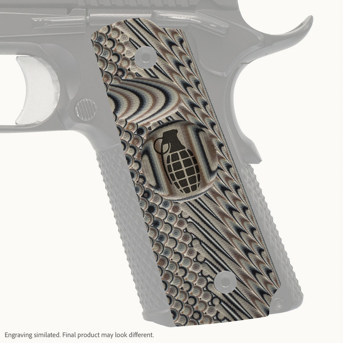 VZ Grip's VZ Operator II™ full-size G-10 1911 grip with Grenade engraving