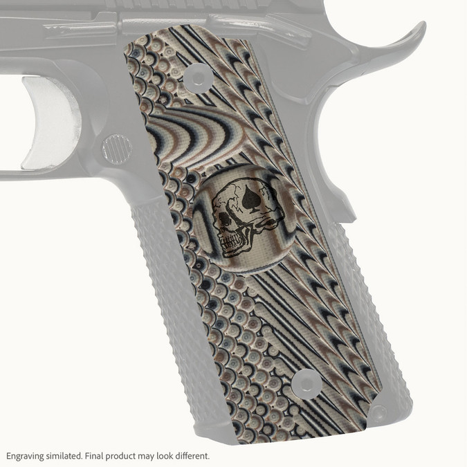 VZ Grip's VZ Operator II™ full-size G-10 1911 grip with Death Card skull engraving