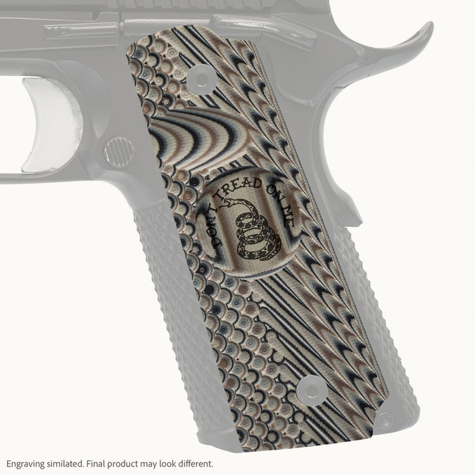 VZ Grip's VZ Operator II™ full-size G-10 1911 grip with Gadsden (Don't Tread On Me) engraving