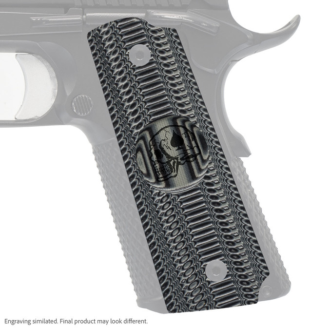 VZ Grip's Alien® compact G-10 1911 grip with Death Card skull engraving