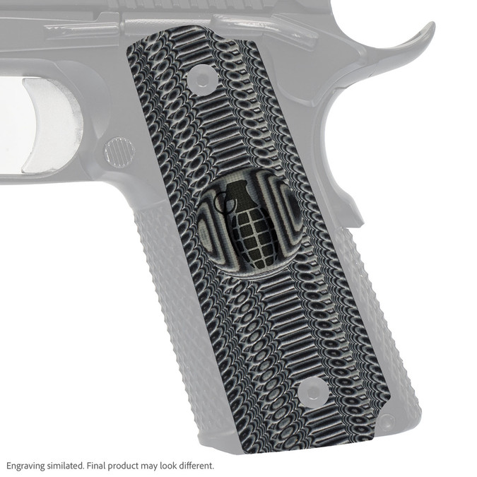 VZ Grip's Alien® compact G-10 1911 grip with Grenade engraving
