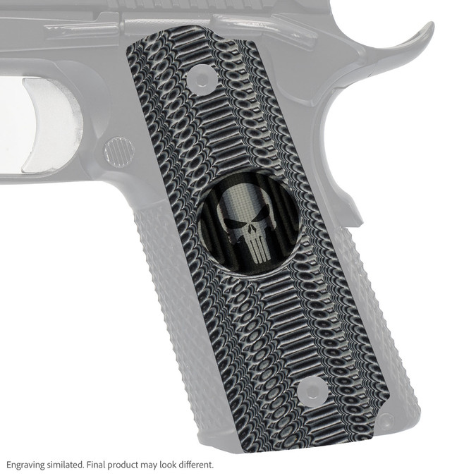 VZ Grips' Alien® compact G-10 1911 grip with Punisher II (inverted) skull engraving