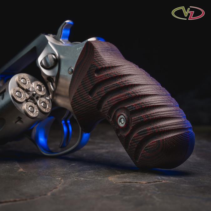 VZ Twister Black Cherry G-10 grips for a Ruger SP101