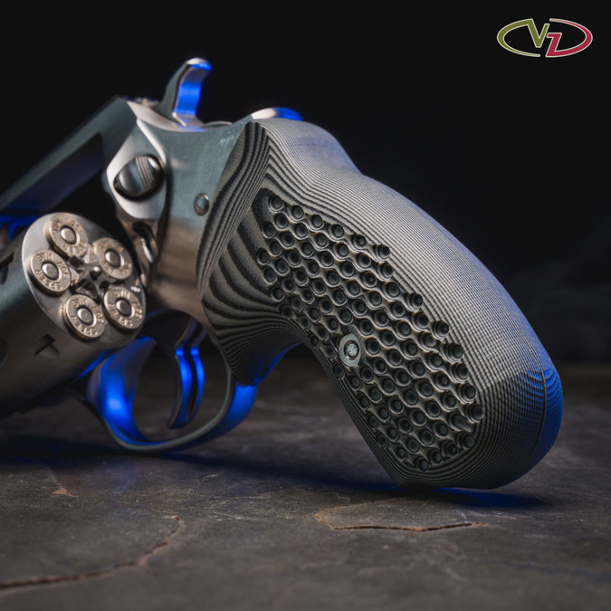 VZ Hydra Black Gray G-10 grips for a Ruger SP101
