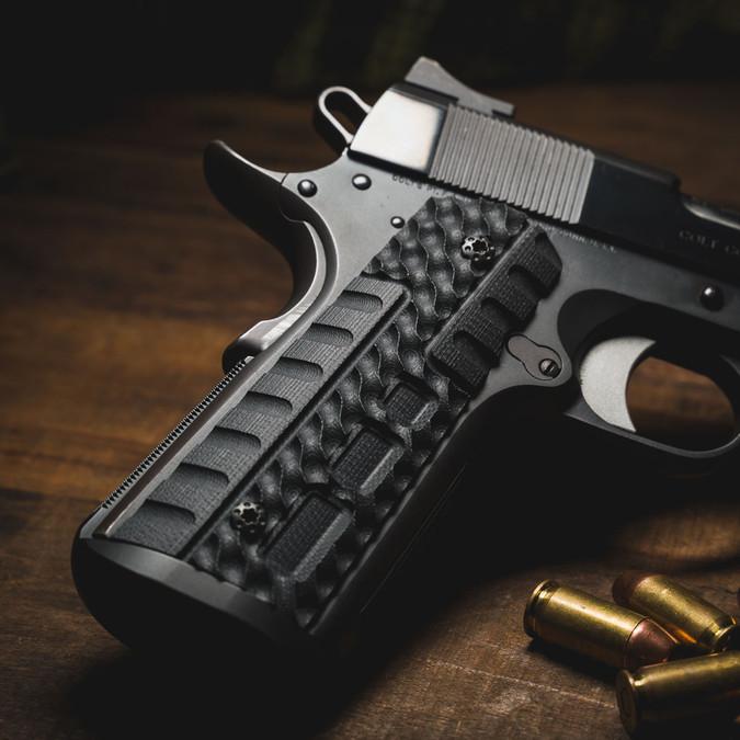 VZ Fallout Black G-10 grips on a black Colt® 1911