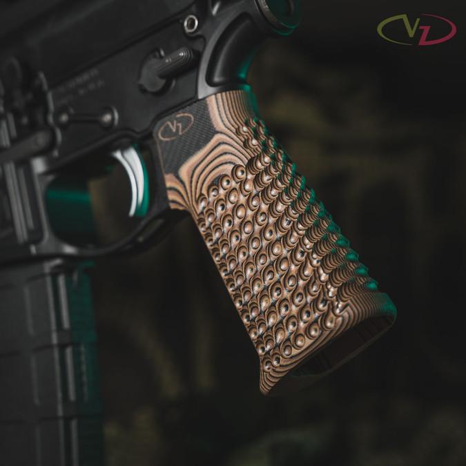 VZ Grips' VZ Hydra AR-15 grip in Hyena Brown G-10 mounted on a black AR