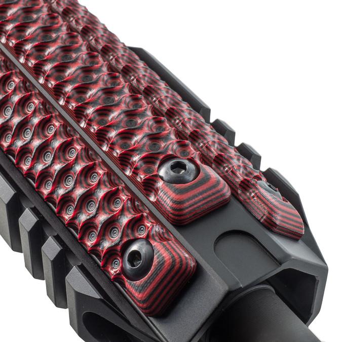 Three VZ Hydra 3-Slot M-LOK Rail Cover in Black Red G-10