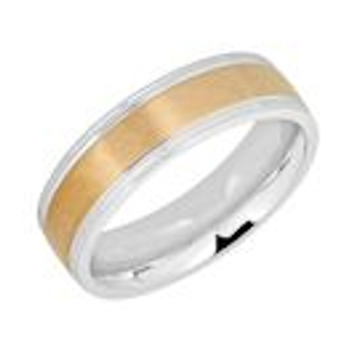 Stainless steel gold plated trim comfort fit band ring