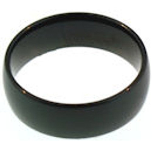 Stainless steel shiny black comfort fit band ring