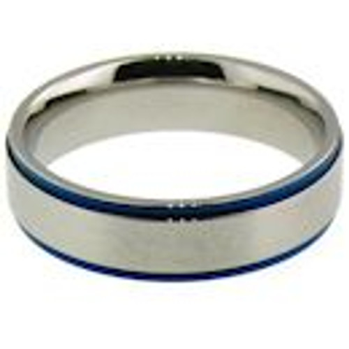 Stainless steel with blue trim comfort fit band ring