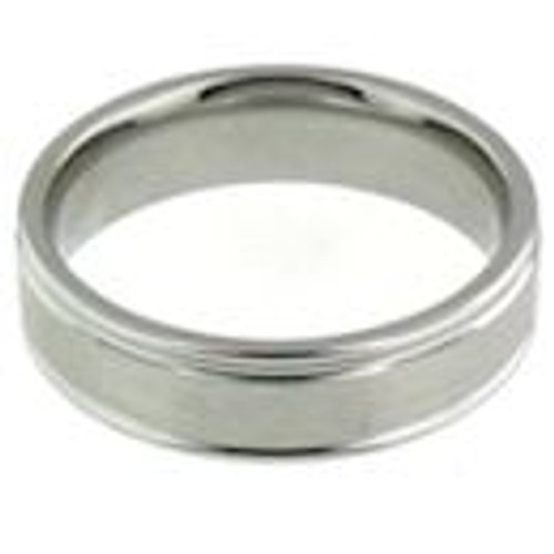 Stainless steel matte with shiny trim comfort fit band ring