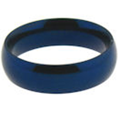 Stainless steel blue comfort fit band ring