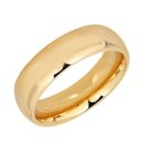 Gold plated stainless steel with shiny finish comfort fit band ring