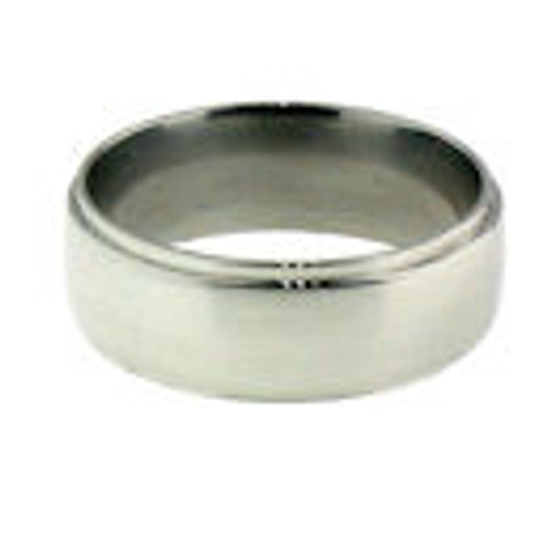 Stainless steel with shiny trim dome comfort fit band ring