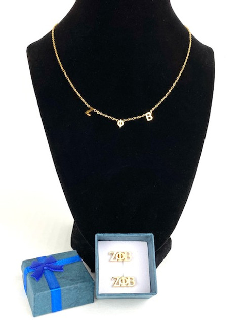 Zeta Phi Beta Necklace and Earrings Gift Set